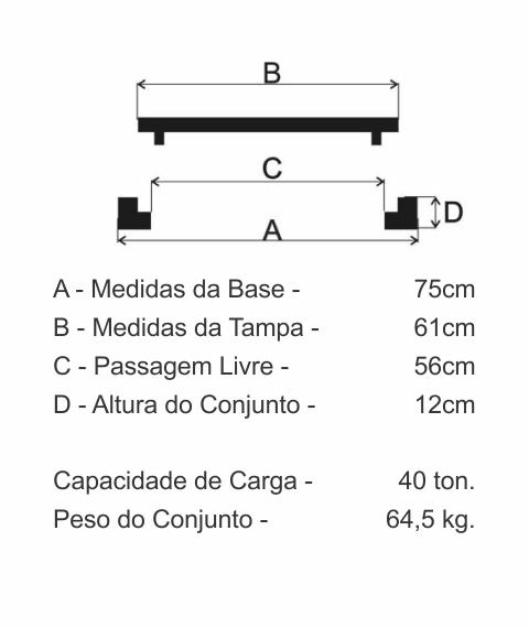 Tampão T125 Simples Cl400 (61Cm) Com 2 Travas Sanepar Em Ffn - FUNDIÇÃO VESUVIO