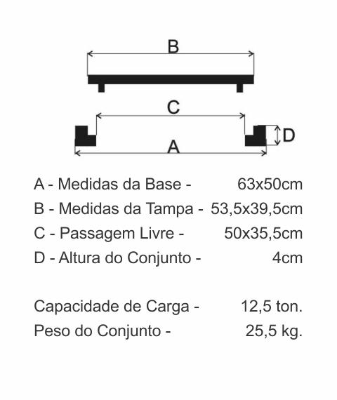 Tampão T27 Articulado Cl125 (53,5X39,5Cm) Sanepar Em Ffn - FUNDIÇÃO VESUVIO