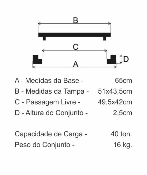 Tampão T33 Simples Cl400 (51X43,5Cm) Com Abas Em Ffn - FUNDIÇÃO VESUVIO