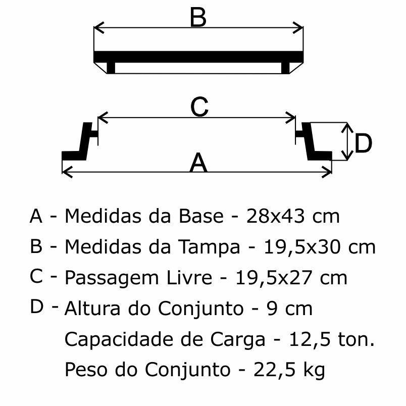 Caixa De Registro Daerp 19,5X30Cm Em Ffn - FUNDIÇÃO VESUVIO