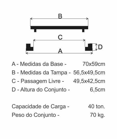Tampão Zbg Articulado Cl400 (56,5X49,5Cm) Garagem E Pista De Rolamento Em Ffn - FUNDIÇÃO VESUVIO