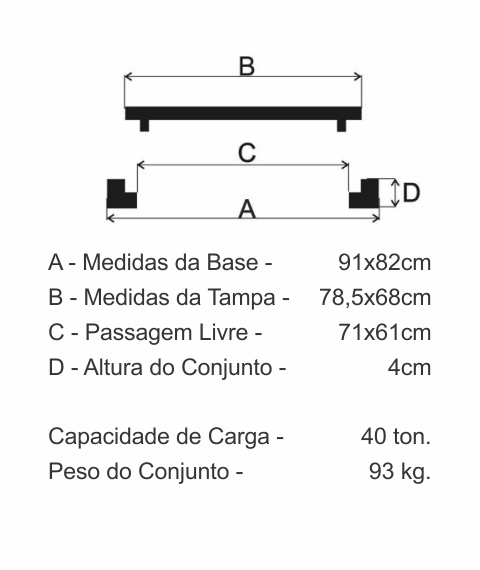 Tampão Zcp Articulado Cl400 (78,5X68Cm) Em Ffn - FUNDIÇÃO VESUVIO
