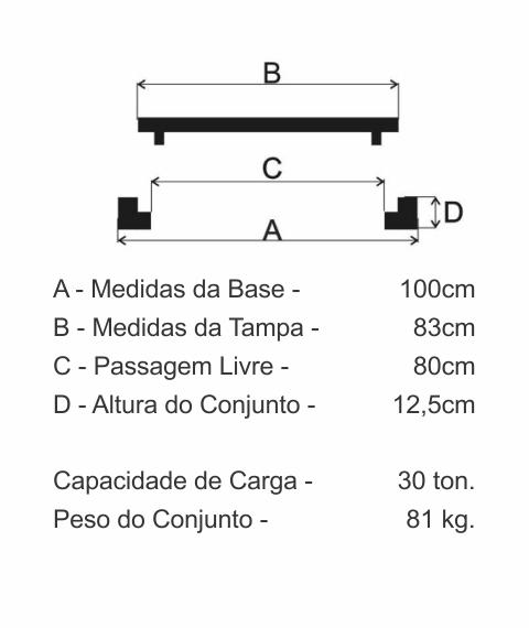 Tampão Dn800 Articulado Cl300 (83Cm) Com Chave E Tranca Fecho Vivo E Anel (Gasmig/Intelig) Em Ffn - FUNDIÇÃO VESUVIO