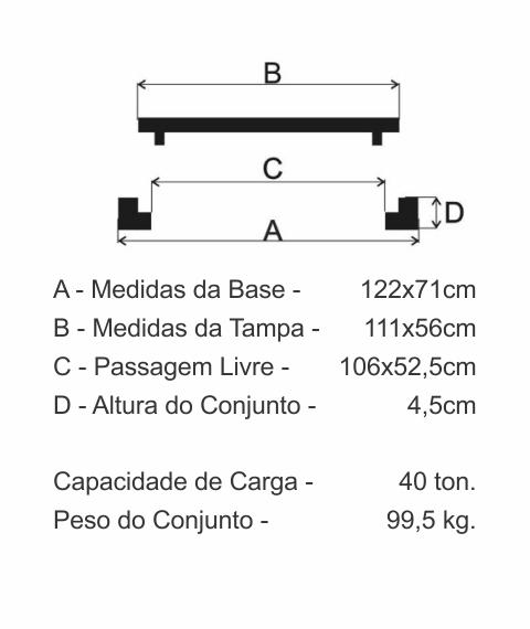 Tampão R2 Articulado Cl400 (111X56Cm) Com Travas Padrão Gvt Em Ffn - FUNDIÇÃO VESUVIO