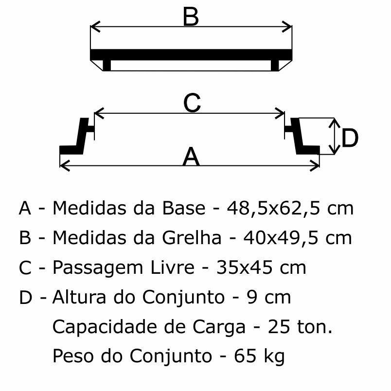 Grelha Boca De Lobo Gr-50 Articulada Reforçada Cl250 (40X49,5Cm) Em Ffn - FUNDIÇÃO VESUVIO