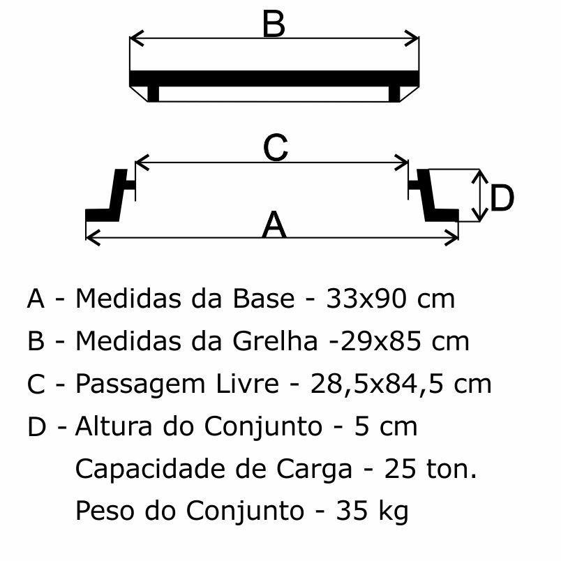 Grelha Boca De Lobo Gr-35 Articulada Cl125 (29X85Cm) Em Ffn - FUNDIÇÃO VESUVIO