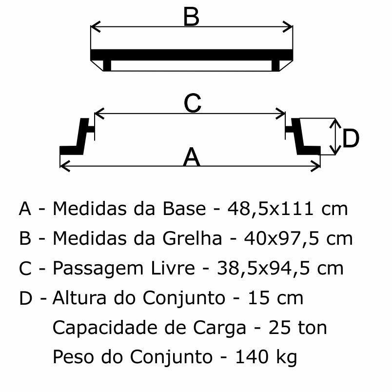 Grelha Boca De Lobo Gr-140 Sudecap Cl400 (40X97,5 Cm) Em Ffn - FUNDIÇÃO VESUVIO