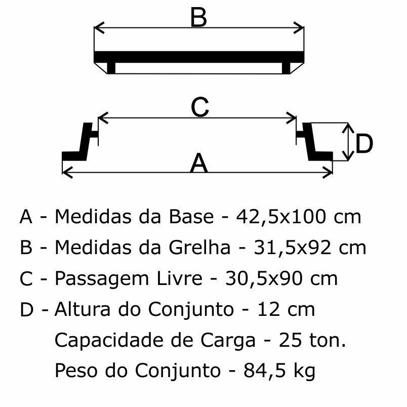 Grelha Boca De Lobo Gr-135 Simples Pmsp Cl250 (31,5X92Cm) Em Ffn - FUNDIÇÃO VESUVIO