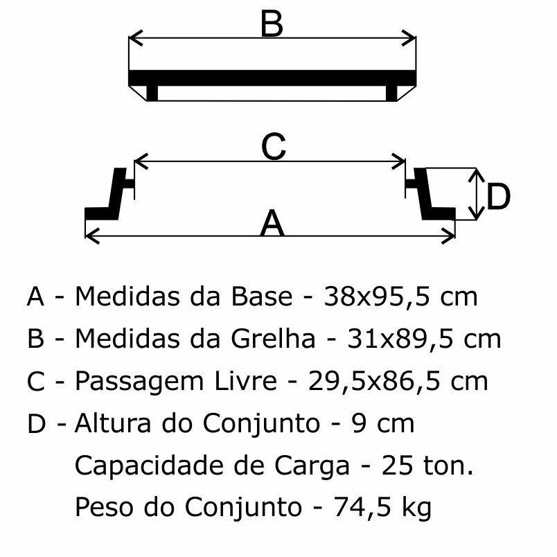 Grelha Boca De Lobo Gr-135 Articulada  Cl300 (31,5X89,5Cm) Em Ffn - FUNDIÇÃO VESUVIO