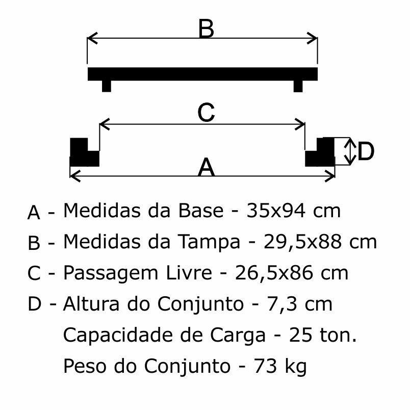 Grelha Boca De Lobo Gr-95 Simples Pmsp Cl250 (29,5X88Cm) Em Ffn - FUNDIÇÃO VESUVIO