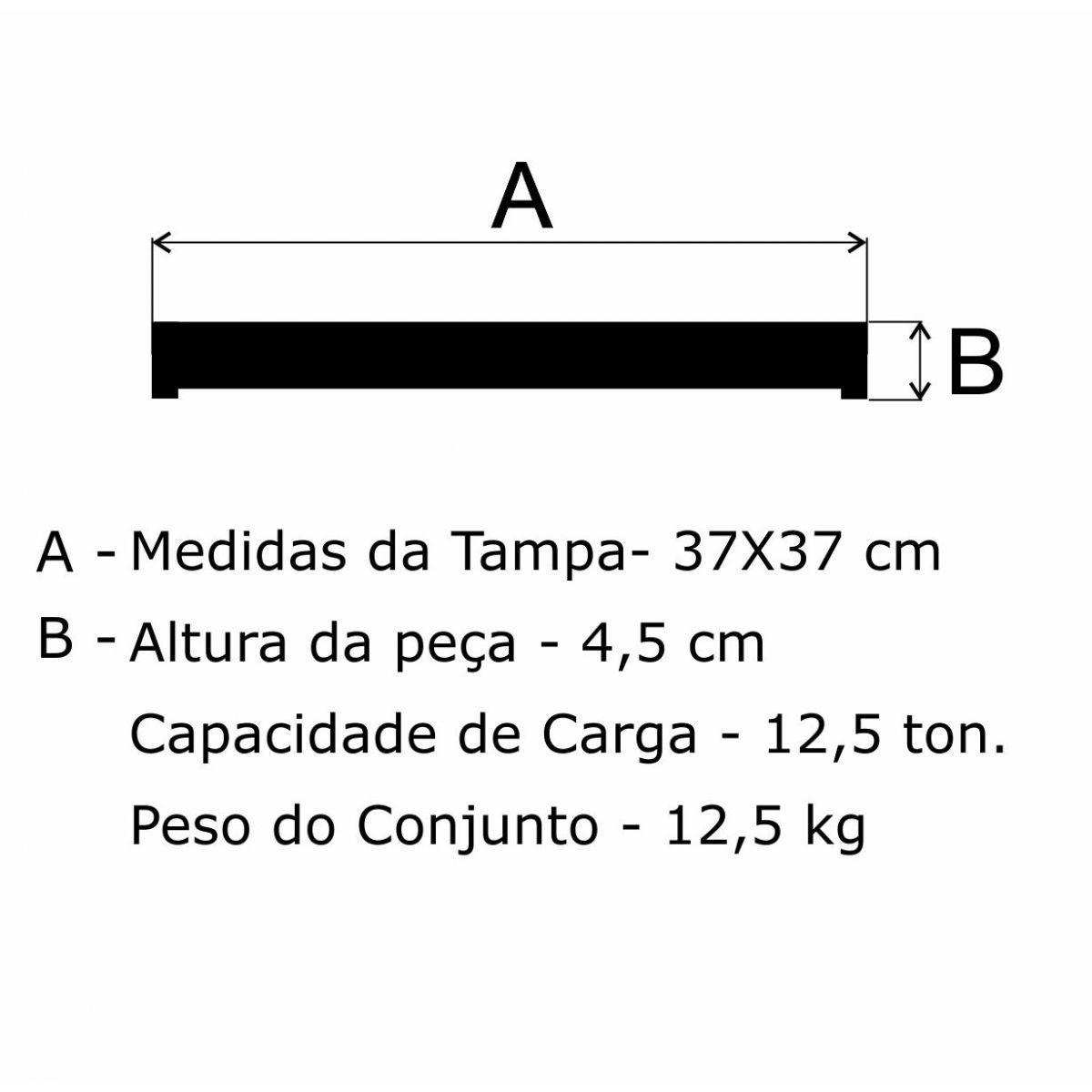 Grelha Para Poço De Drenagem Cemig Cl125 (37X37Cm) Em Ferro Fundido Nodular - FUNDIÇÃO VESUVIO