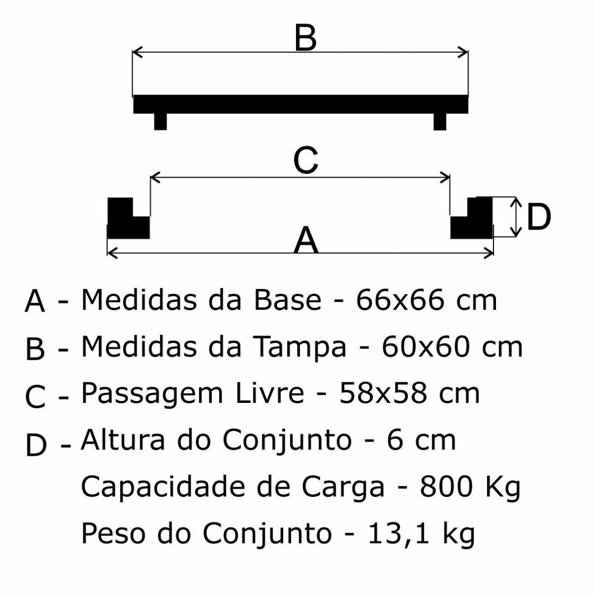 Tampão 60X60Cm Dupla Vedação Articulado Em Af - FUNDIÇÃO VESUVIO