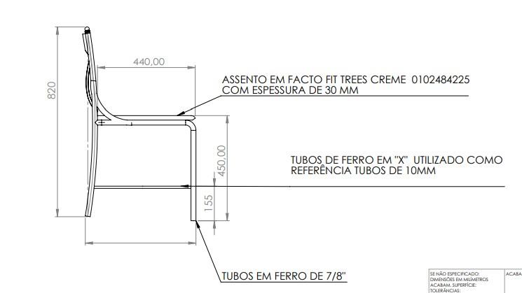 Cadeira Senado Federal em ferro conforme desenho - FUNDIÇÃO VESUVIO