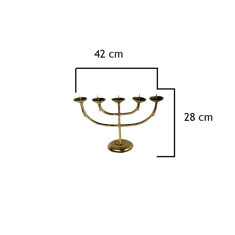 Castiçal Liso Em Bronze Para 5 Velas - FUNDIÇÃO VESUVIO