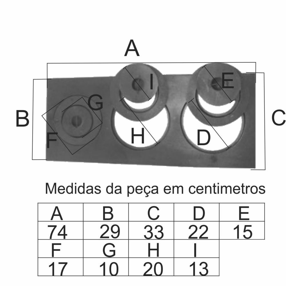Chapa Para Fogão 3 Furos Com Redução Completa (74X33X29Cm) - FUNDIÇÃO VESUVIO