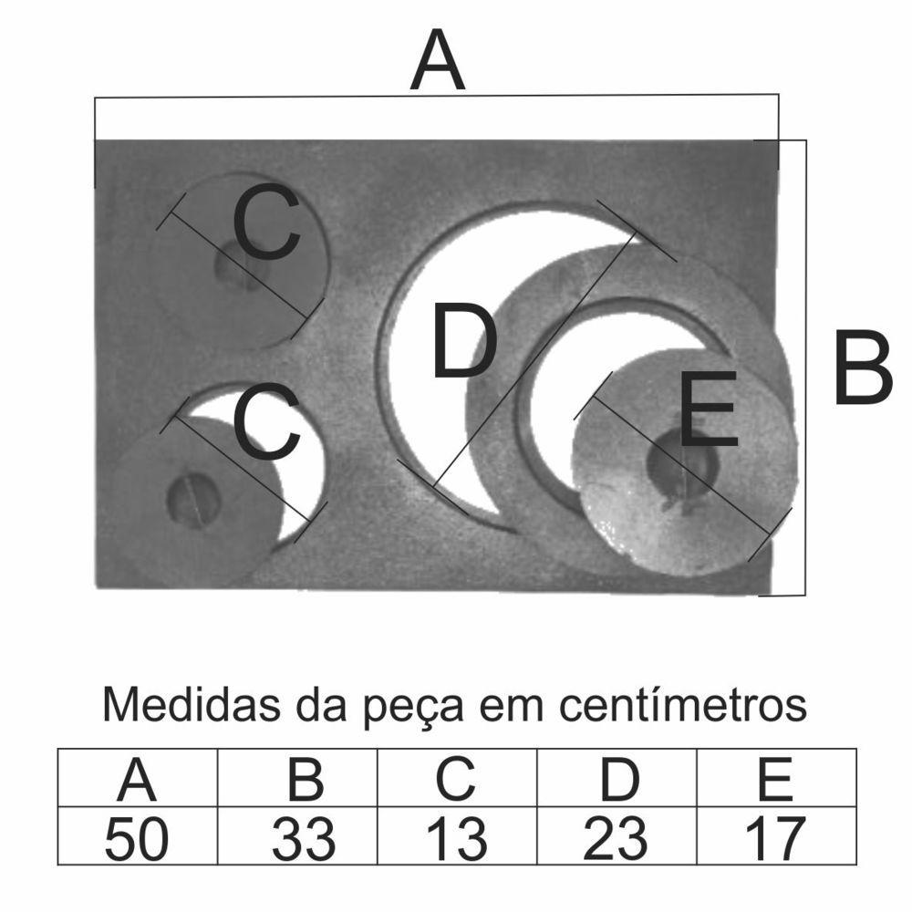 Chapa Para Fogão 3 Furos Paraná Completa (50X33Cm) - FUNDIÇÃO VESUVIO
