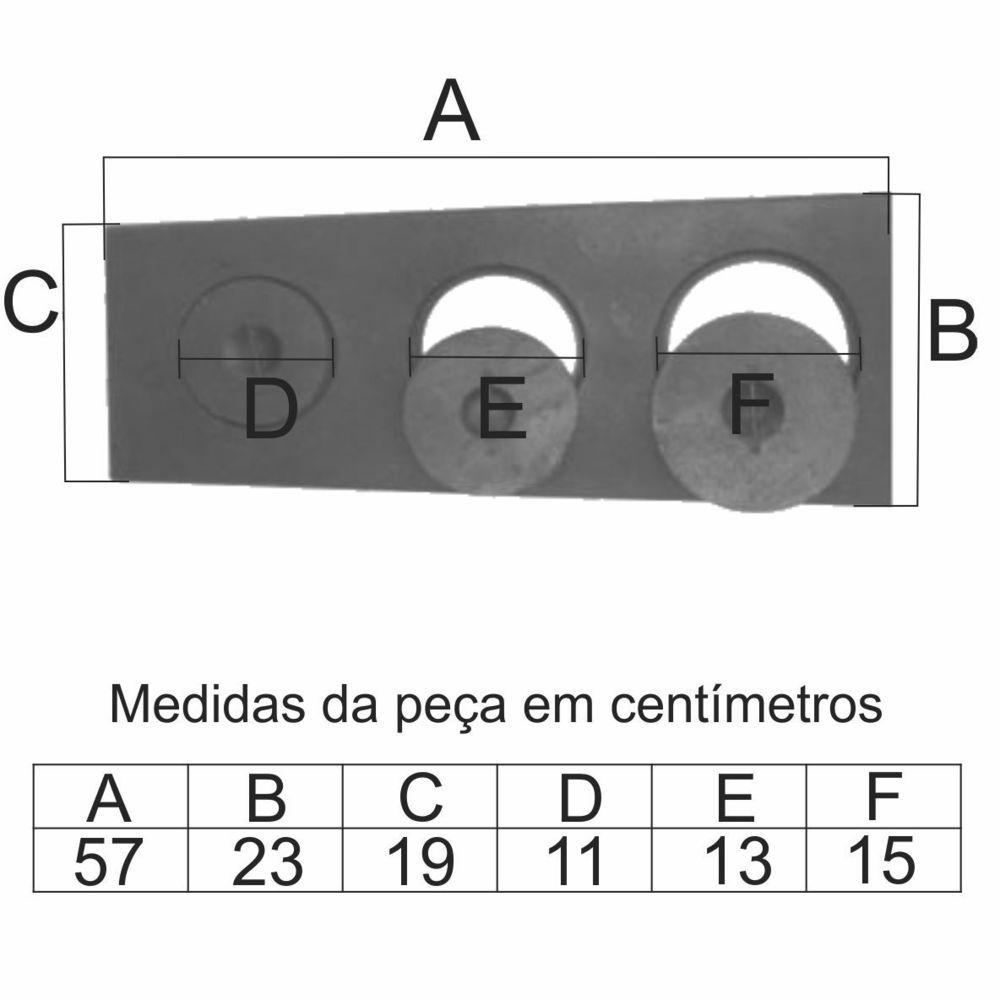 Chapa Para Fogão 3 Furos Paulista Com Tampa (57X23X19Cm) - FUNDIÇÃO VESUVIO