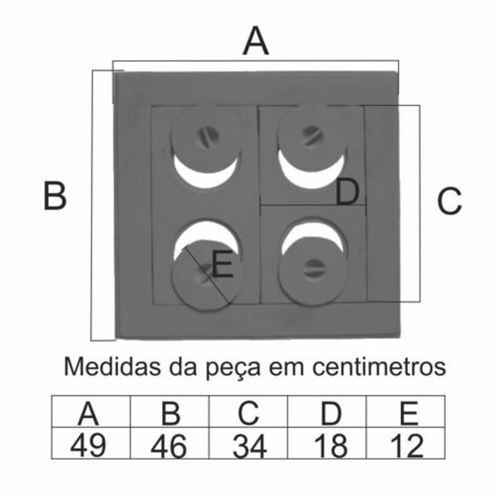 Chapa Para Fogão 4 Furos Econômica Completa (49X46Cm) - FUNDIÇÃO VESUVIO