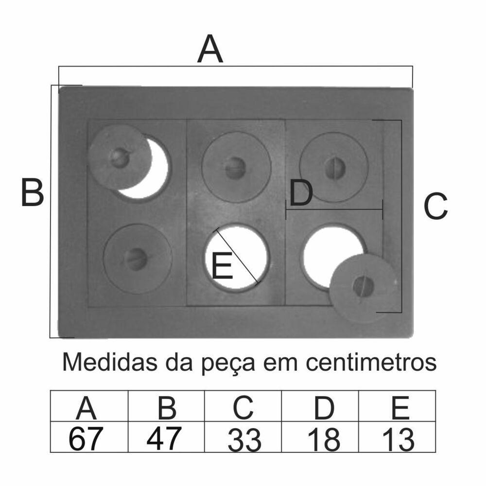 Chapa Para Fogão 6 Furos Econômica Completa (47X67Cm) - FUNDIÇÃO VESUVIO