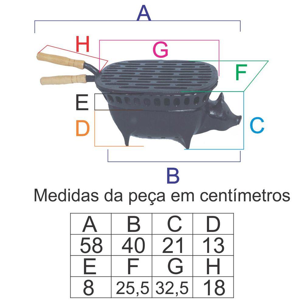 Churrasqueira Porquinho Completa Em Ff - FUNDIÇÃO VESUVIO