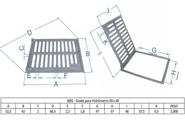 Grade Para Hidrômetro 50X40Cm Em Af - FUNDIÇÃO VESUVIO