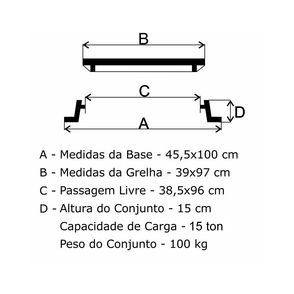 Grelha Boca De Lobo Gr-100 Articulada (39X97Cm) Em Ff - FUNDIÇÃO VESUVIO
