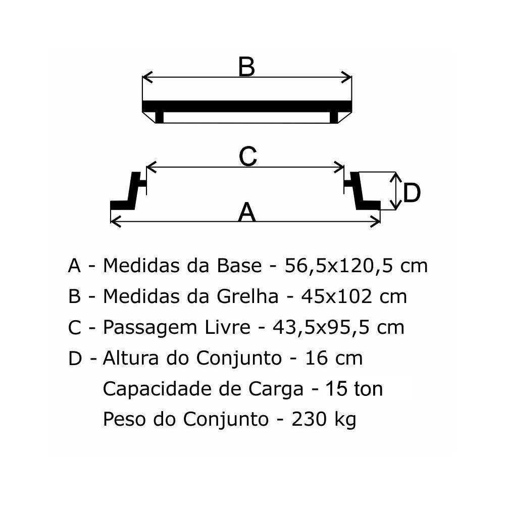 Grelha Boca De Lobo Gr-250 Sudecap (45X102Cm) Em Ff - FUNDIÇÃO VESUVIO