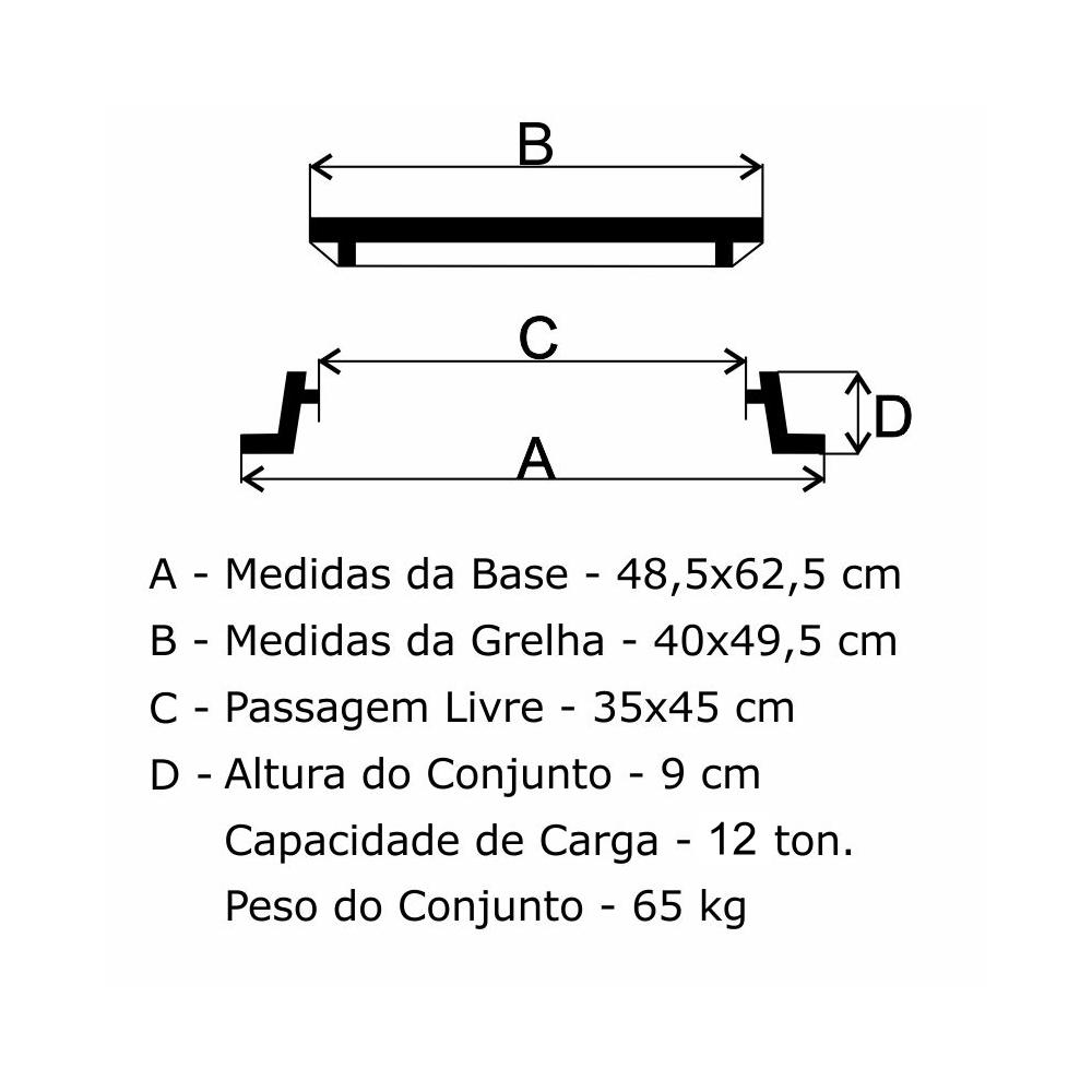 Grelha Boca De Lobo Gr-50 Articulada Reforçada (40X49,5Cm) Em Ff - FUNDIÇÃO VESUVIO
