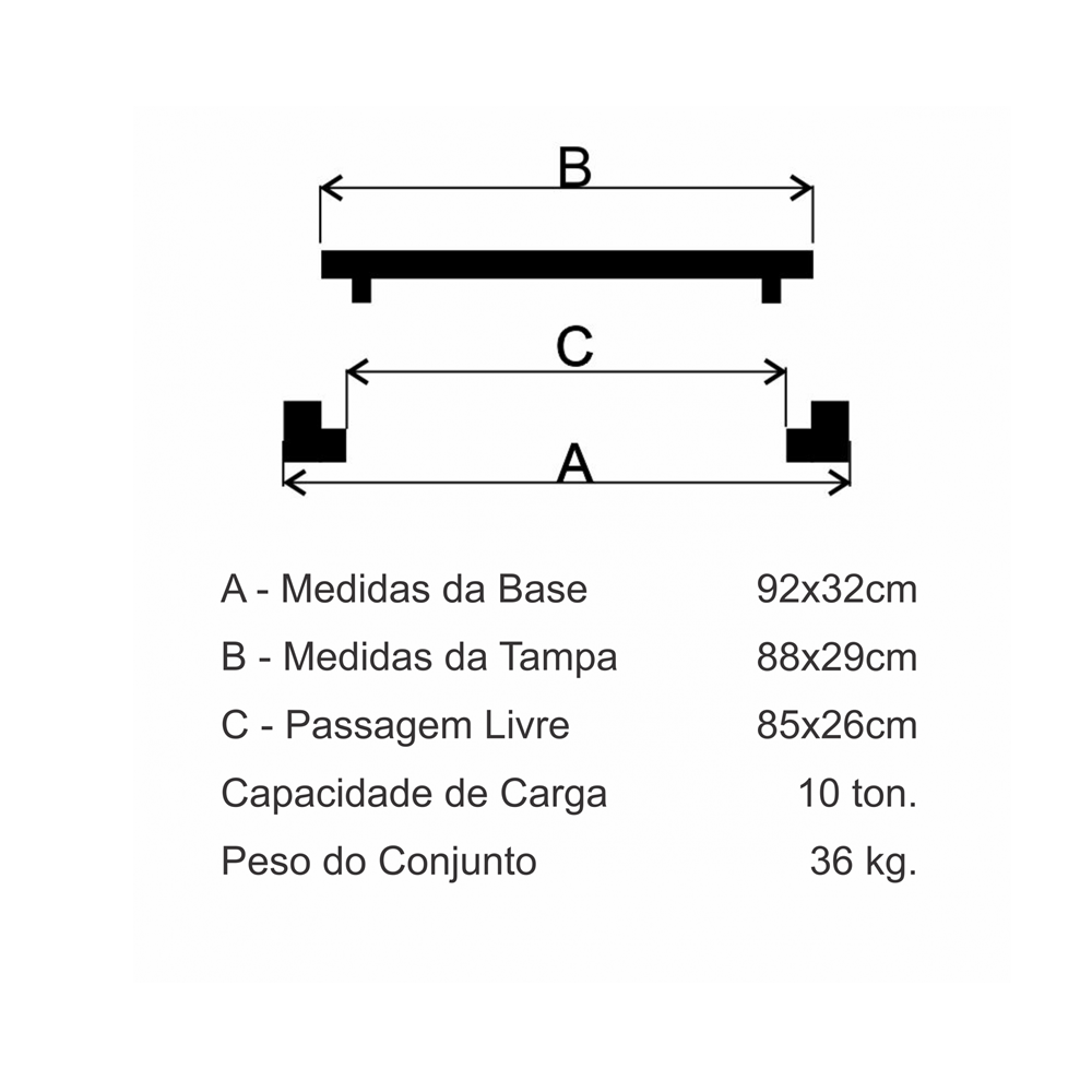 Grelha Boca De Lobo Gr-90 Articulada Leve (29X88Cm) Em Ff - FUNDIÇÃO VESUVIO