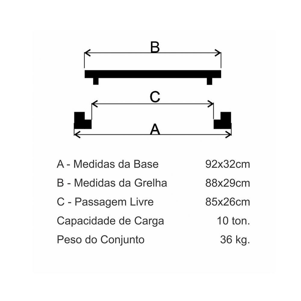 Grelha Boca De Lobo Gr-90 Simples Leve (29X88Cm) Em Ff - FUNDIÇÃO VESUVIO