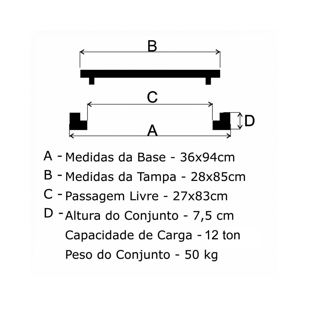 Grelha Boca De Lobo Gr-95 Articulada Média (28X85Cm) Em Ff - FUNDIÇÃO VESUVIO