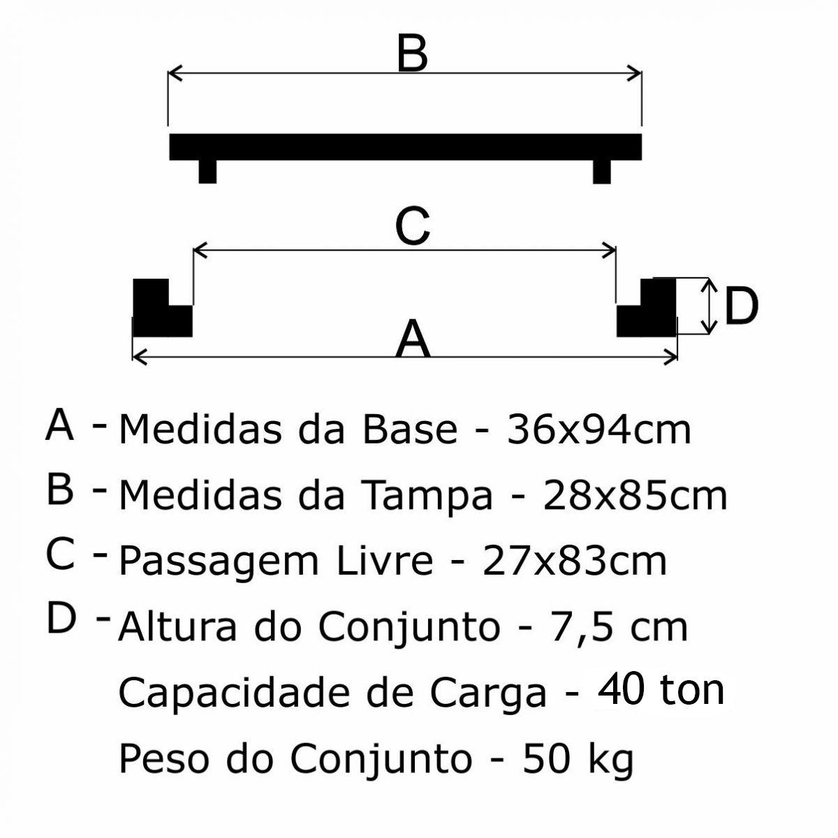 Grelha Boca De Lobo Gr-95 Articulada Média Cl300 (28X85Cm) Em Ffn - FUNDIÇÃO VESUVIO