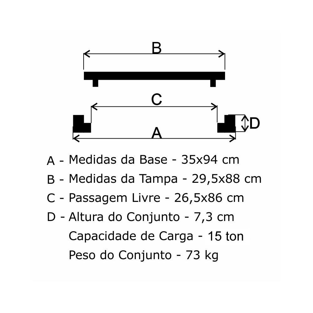 Grelha Boca De Lobo Gr-95 Simples PMSP (29,5X88Cm) Em Ff - FUNDIÇÃO VESUVIO