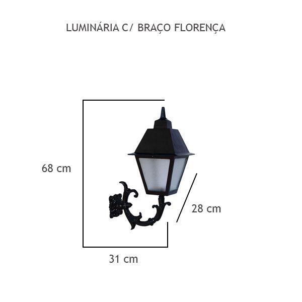 Luminária Com Braço Florença - FUNDIÇÃO VESUVIO