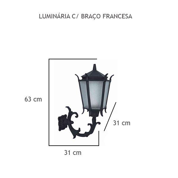 Luminária Com Braço Francesa - FUNDIÇÃO VESUVIO