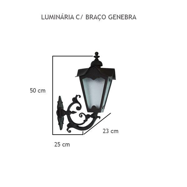 Luminária Com Braço Genebra - FUNDIÇÃO VESUVIO