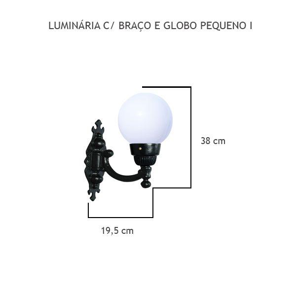 Luminária Com Braço Globo Pequeno I - FUNDIÇÃO VESUVIO
