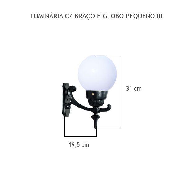 Luminária Com Braço Globo Pequeno II - FUNDIÇÃO VESUVIO