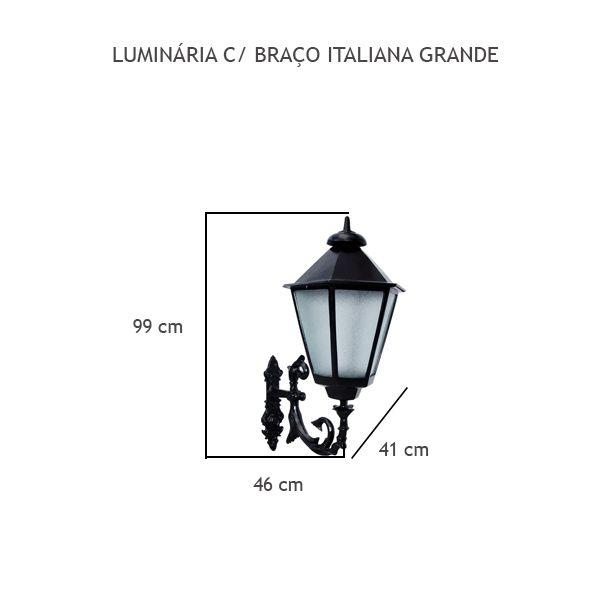 Luminária Com Braço Italiana Grande - FUNDIÇÃO VESUVIO