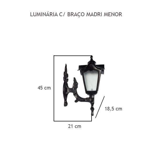 Luminária Com Braço Madri Menor - FUNDIÇÃO VESUVIO