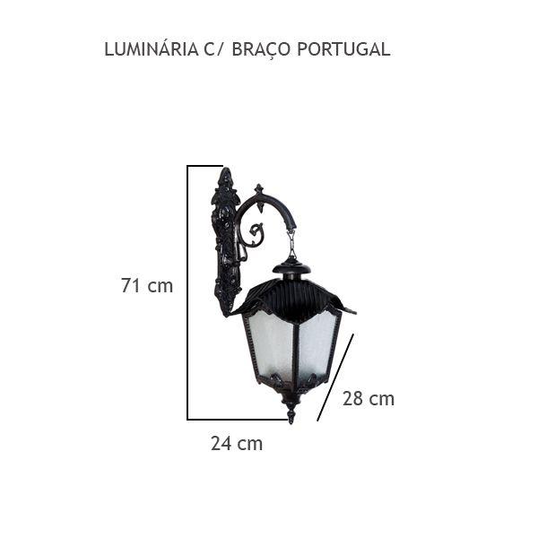 Luminária Com Braço Portugal - FUNDIÇÃO VESUVIO