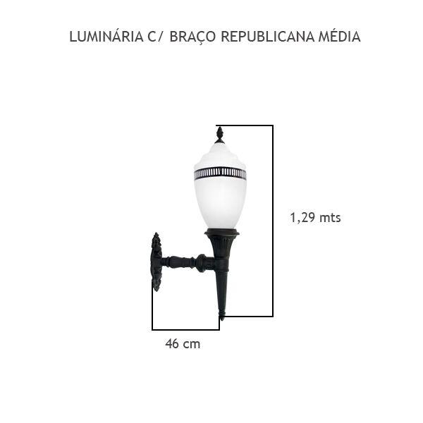 Luminária Com Braço Republicana Média - FUNDIÇÃO VESUVIO