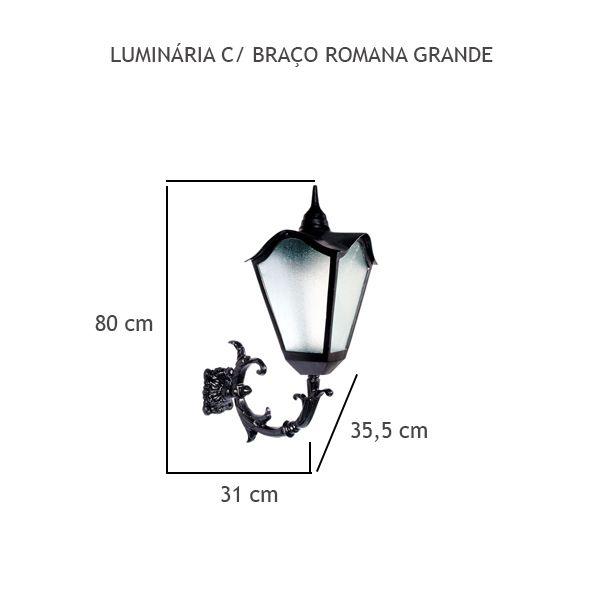 Luminária Com Braço Romana Grande - FUNDIÇÃO VESUVIO