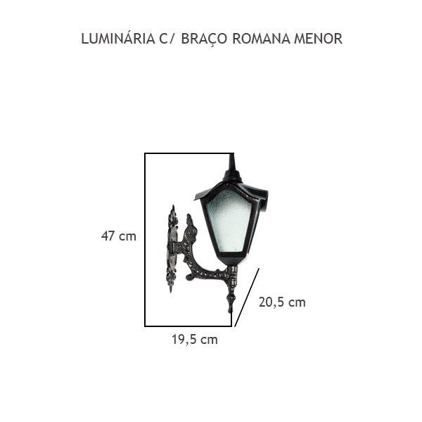 Luminária Com Braço Romana Menor - FUNDIÇÃO VESUVIO