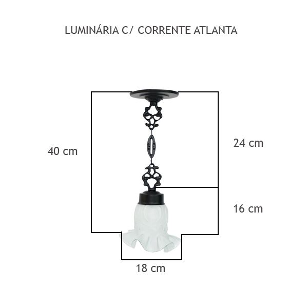 Luminária Com Corrente Atlanta - FUNDIÇÃO VESUVIO