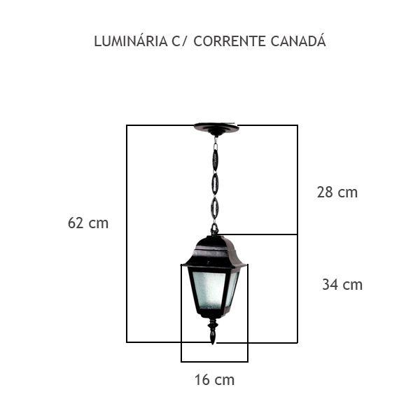 Luminária Com Corrente Canadá - FUNDIÇÃO VESUVIO