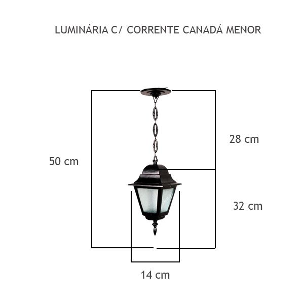 Luminária Com Corrente Canadá Menor - FUNDIÇÃO VESUVIO