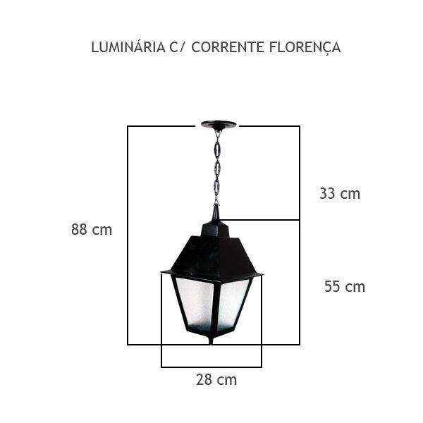 Luminária Com Corrente Florença - FUNDIÇÃO VESUVIO