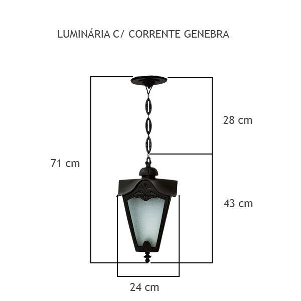 Luminária Com Corrente Genebra - FUNDIÇÃO VESUVIO