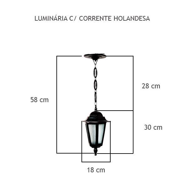 Luminária Com Corrente Holandesa - FUNDIÇÃO VESUVIO